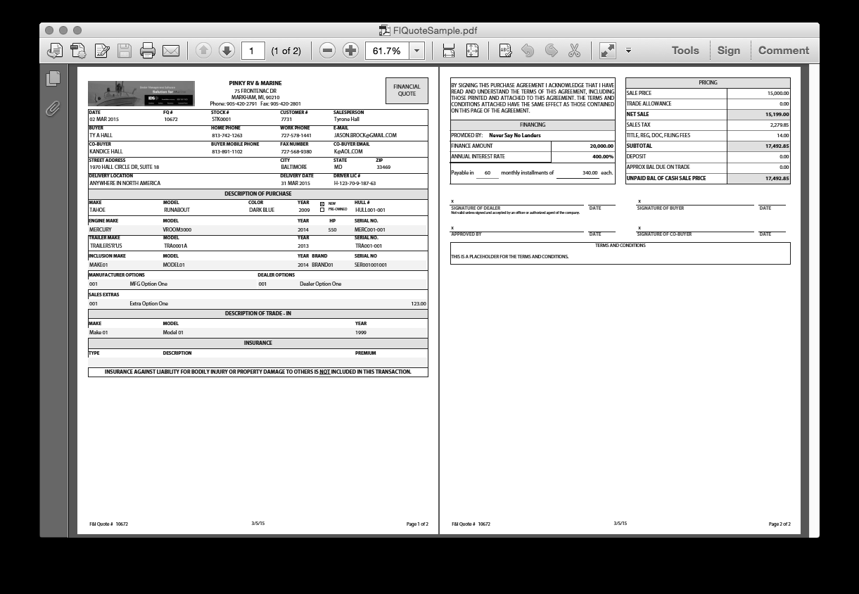 sales finance pdf finance quote new features ids astra