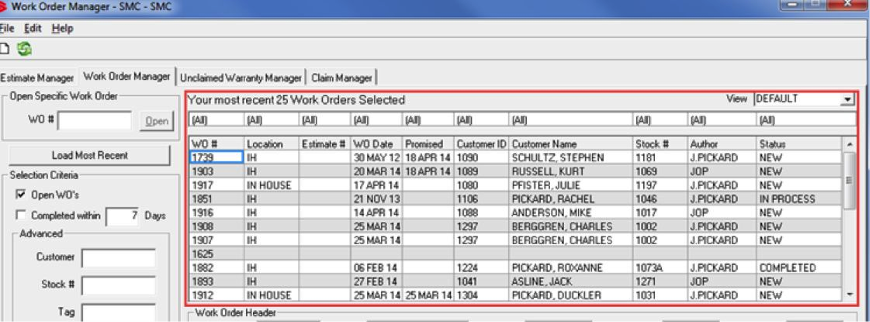 Service - WO Manager Performance