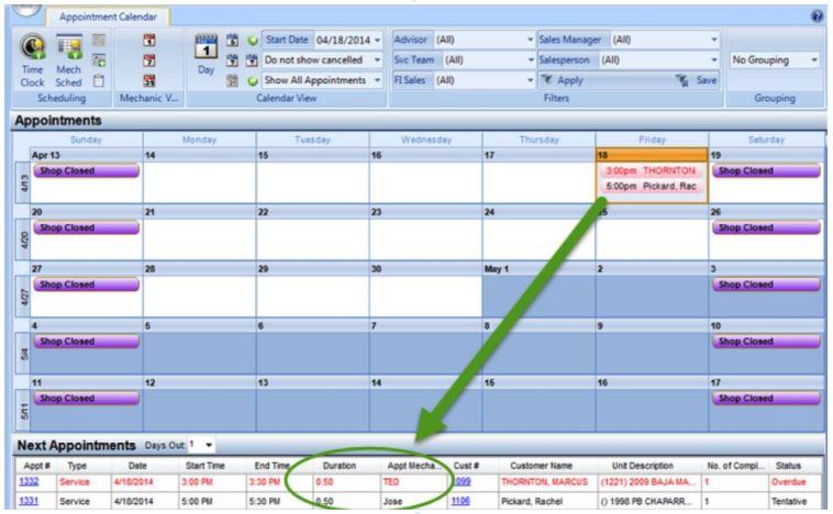 service appointment calendar